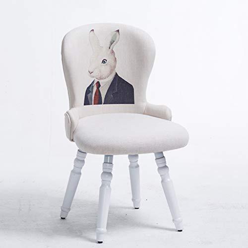 PLL massief houten kruk Nordic eenvoudige romantische stijl eettafel stoel comfortabel dier konijnendoek kunst rugleuning stoel