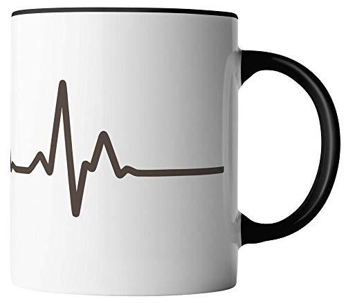 Vanverden Taza de café, línea de vida EKG – Divertida frase en alemán, estampado por ambos lados, idea de regalo, cerámica, blanco/negro