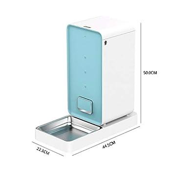Pet Bowl Distributeur automatique d'aliments pour animaux intelligents Pet 6L, programmable avec minuterie, jusqu'à 4 repas par jour (bleu et blanc) Arts De La Table Animale ( Color : Blue )