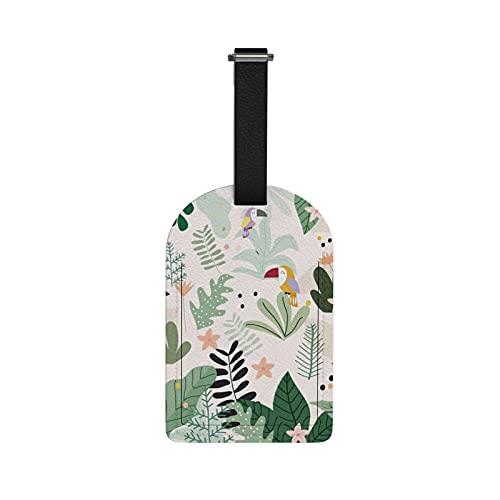 Orediy - Etichette da viaggio per bagagli, con nome e carta d'identità, in pelle PU, motivo: tucano botanico