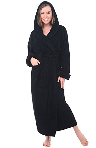 Alexander Del Rossa Womens Turkish Terry Cloth Robe, Long Cotton Hooded Bathrobe, Large XL Black (A0127WBKXL)