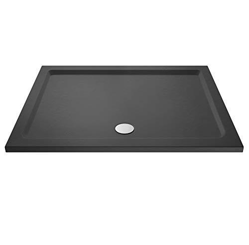 Nuie TR71041 | Modern Bathroom Rectangular Slimline Pearlstone Shower Tray, 700mm x 1500mm, Slate Grey, 1500mm x 700mm
