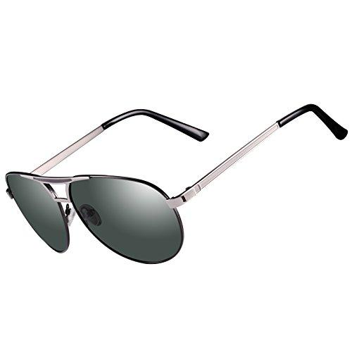Kennifer Herren Klassik Polarisierte Fahren Pilot Sonnenbrille Metallrahmen Ultra leicht Premium Voll Verspiegelte Polarisierte Pilotenbrille Sonnenbrille