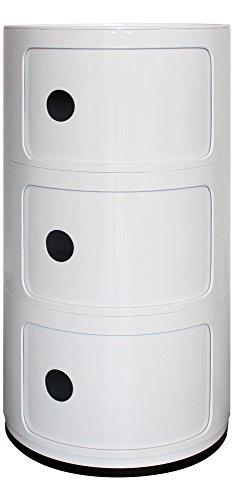 Blanco 3estantera redonda unidad de almacenamiento, mesilla de noche, mesa auxiliar, cuarto de bao...