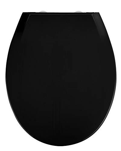 WENKO Premium WC-Sitz Kos Schwarz - Toiletten-Sitz mit Absenkautomatik, Fix-Clip Hygiene Kunststoffbefestigung, Thermoplast, 37 x 44 cm, Schwarz