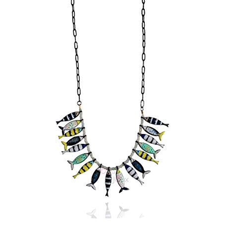 Lol Bijoux – Collar de miriade de peces – Sardina azul marino – POpup-Bijoux