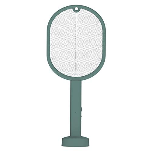 Gmjay Matador de Mosquitos Eléctrico LED Recargable Anti Fly Bug Zapper Killer Trap Raqueta de Insectos,Green