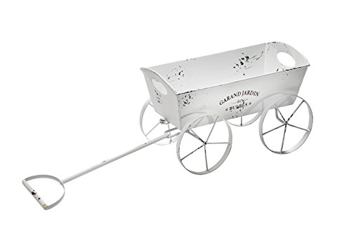 Kobolo Pflanzschubkarre Leiterwagen Pflanztopf - Shabby Landhaus Stil - weiß