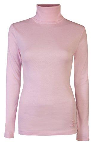 Brody & Co - Camiseta de manga larga y cuello alto para mujer, térmica, algodón rosa rosa pastel Large