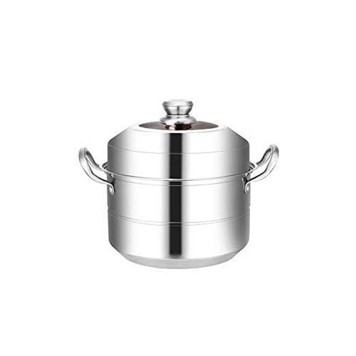GJP Vaporizador de 2 Niveles para cocinar vaporizador de Acero Inoxidable de 28 cm - 40 cm Compatible con Estufa de Gas Horno inducción Horno halógeno eléctrico vapores para cocinar 30 cm