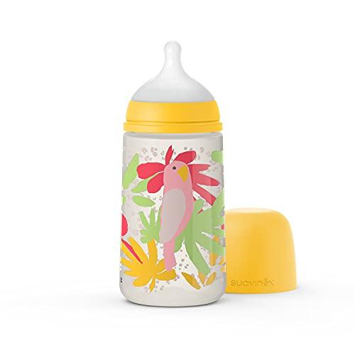 Suavinex Nuevo Biberón 270 ml con Tetina Fisiológica SX Pro Flujo Medio, Para Bebés +0 Meses, Amarillo
