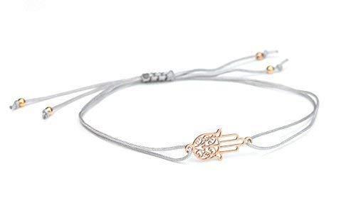 SCHOSCHON Damen Symbol Armband Fatimas Hand - Hamsa 925 Silber rosevergoldet Grau-Rosegold // Geschenkidee Schmuck Textilarmband Geschenk Konfirmation
