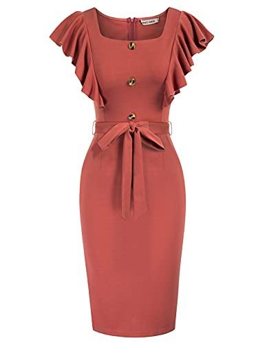 GRACE KARIN bleistiftkleid 50er etuikleid rot Knielang sexy Kleid damenkleid CL615-1 S