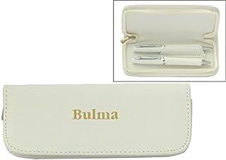 Set de pluma en estuche de cuero artificial de color blanco con nombre grabado: Bulma (nombre de pila/apellido/apodo)
