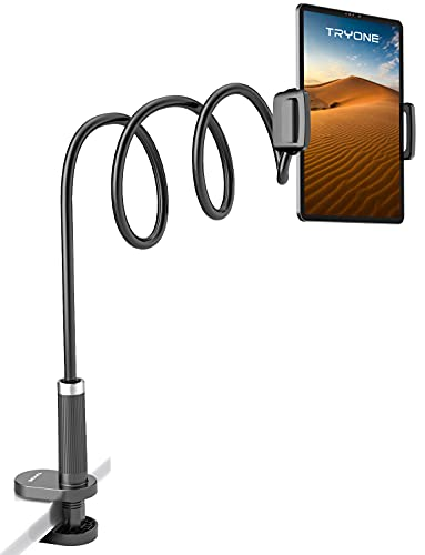 """Gooseneck Tablet Holder Stand for Bed: Tryone Adjustable Long 39.4inch Flexible Lazy Arm Tablets Mount Compatible with iPad Pro Air Mini 