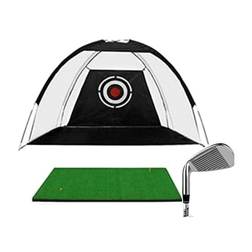 HJKJ Red de práctica de golf, jaula de bateo asistida de golf, rango de conducción de césped para deportes de interior y exterior, 118.1 pulgadas × 78.7 pulgadas con palo de bateo negro
