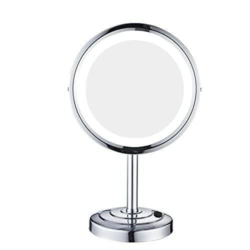SWOZ Magnificación 3X Espejo De Maquillaje Los Espejos De Escritorio con Espejo De Maquillaje Redondo con Luces LED, Adecuadas para Dormitorios, Dormitorios, Centros Comerciales,Plata,8in 3X
