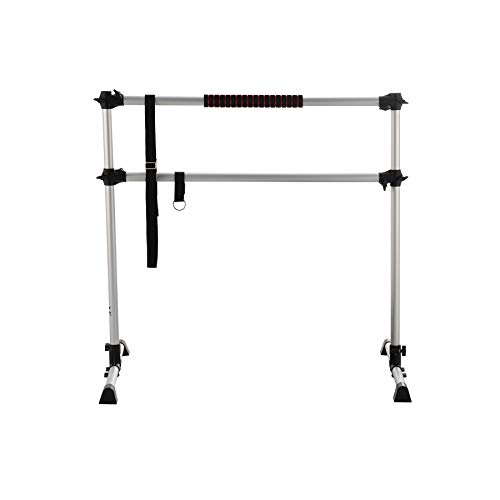 ZELUS 4ft Portable Ballet Barre for Home Gym   Freestanding Dance Exercise Equipment for Home Workouts Fitness Flexibility Training with Stretch Band and Tote (Silver)