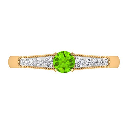 Rosec Jewels 14 quilates oro amarillo redonda round-brilliant-shape H-I Green Diamond Creado en laboratorio de kryptonita