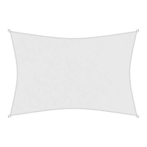 sunprotect 83237 Professional Sonnensegel, 6 x 4 m, Rechteck, Wind- & wasserdurchlässig, weiß