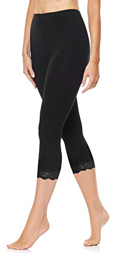 Merry Style Leggings 3/4 con Pizzo Donna MS10-224 (Nero, S)