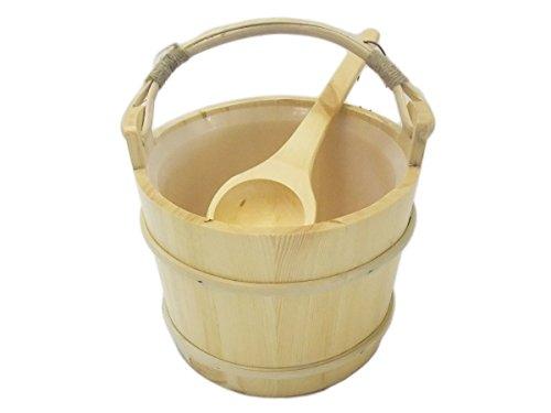 EB-Onlinehandel Saunakübel und Kelle Bambushenkel mit Auslaufschutz - Saunaeimer Saunaset Saunazubehör