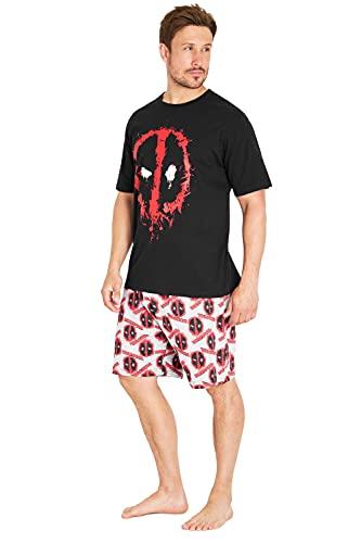 Marvel Deadpool Pijama Hombre Corto, Conjunto de 2 Piezas Pijamas Hombre de Algodon, Regalos para Hombre y Adolescentes Talla S-3XL (Negro/Gris, m)
