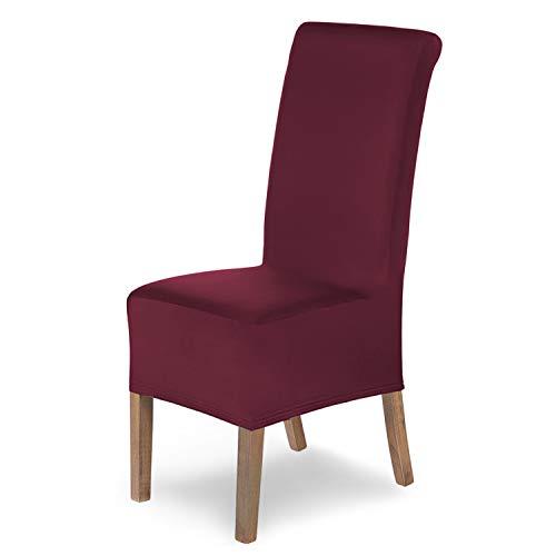 SCHEFFLER-Home Stretch Stuhlhusse Lena, 6er Set elastische Stuhlabdeckungen, Stuhlhussen Schwingstühle, Spannbezug mit Gummiband, Elegante Stuhlbezüge