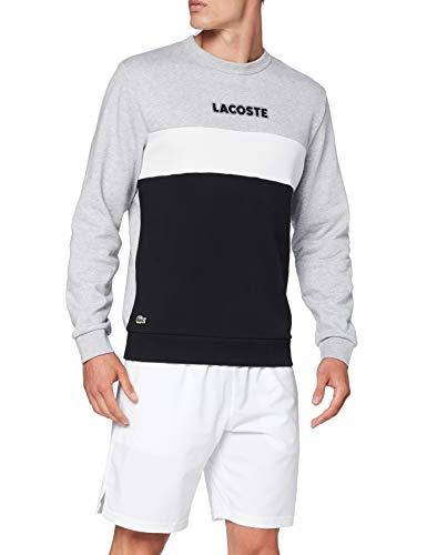 Lacoste Sport Sh1538 Maglione, Argento Cina/Nero-Bianco, 7 Uomo