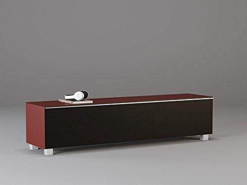 TV Board Soundboard 7738 MAJA glas framboos mat/akoestische stof zwart 180x43x42cm