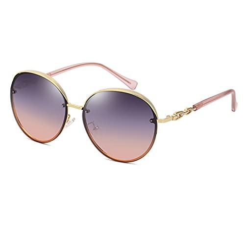 BAJIE Gafas de Sol Gafas de Sol con Montura Redonda Gafas de Sol con Tachuelas de Diamantes para Mujer Gafas de Sol para Hombre