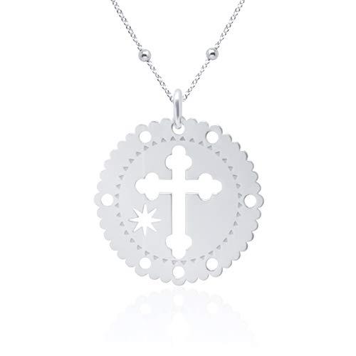 Wanda Zilveren halsketting medaille kruis voor dames 925 sterling zilver kruis hanger met ketting 45 cm in geschenkdoos