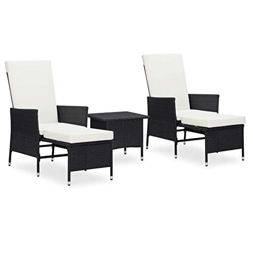 Tidyard 3-TLG. Garten Lounge Set mit Auflagen Gartensitzgruppe Esstisch Sofa Rattanmöbel Lounge Outdoor Sofagarnitur 2 Sessel mit Beistelltisch Poly Rattan Schwarz