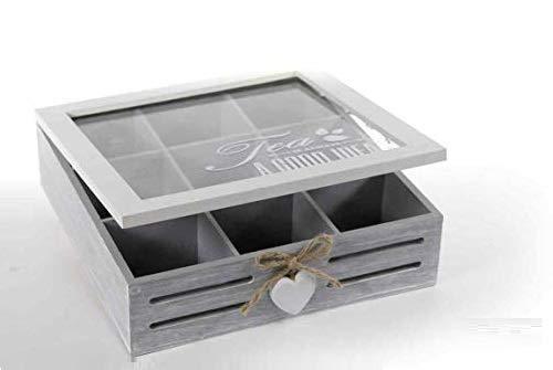 GICOS IMPORT EXPORT SRL Scatola Cofanetto in Legno 24 * 24 * 7 cm Porta bustine The Decoro Love Shabby Chic YAT-738357