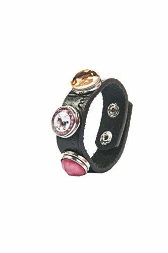 HKM 70579100 armband - paard/ruit, plus 2 knoppen, M, zwart/roze/roze