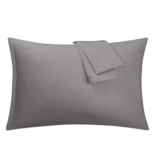 N/D - Juego de 2 fundas de almohada de microfibra suave serie 1800 con cierre de cremallera, plis, resistente a las manchas, gris Queen (20'x 30')