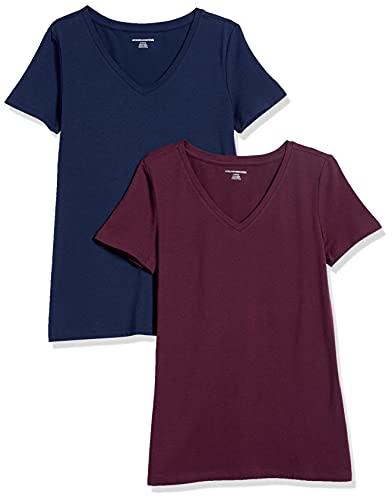 Amazon Essentials Camiseta de manga corta clásico con cuello en V, Mujer, Multicolor (Granate/Azul Marino), L, pack de 2
