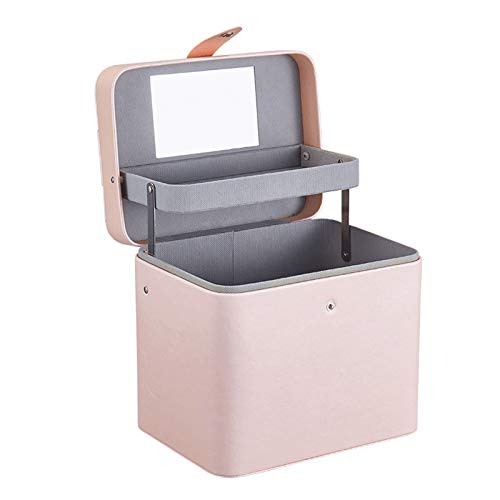 DHVK Cosmetic Bag, Large-Capacity Portable Hand-Carry Portable Skin Care Cosmetic Storage Box, PU Leather, Lifting Automatic Reel with Mirror, Portable Portable Design,Pink