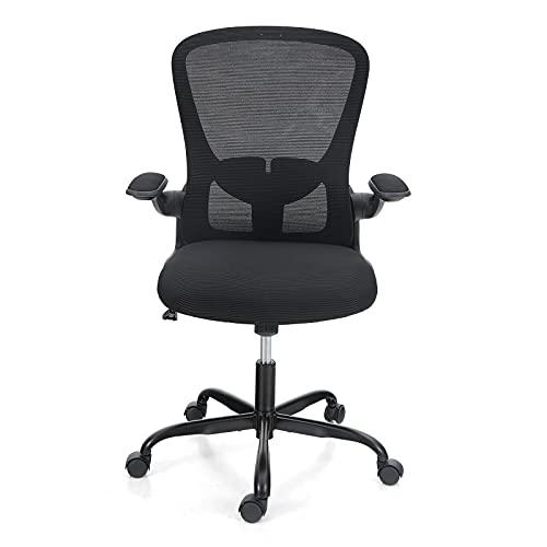 ALPHA CAMP Ergonomischer Bürostuhl Schreibtischstuhl, Computerstuhl mit Verstellbaren Lendenwirbelstütze, Armlehnen, Stummrädern, Höhenverstellbarer Drehstuhl, Rückenschonend Office Chair Chefsessel