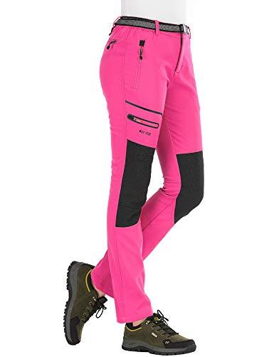 BenBoy Pantalones de Nieve Montaña Mujer Impermeables Invierno Calentar Pantalones Trekking Escalada Senderismo Esquiar Softshell,KZ1672W-Pink2-S