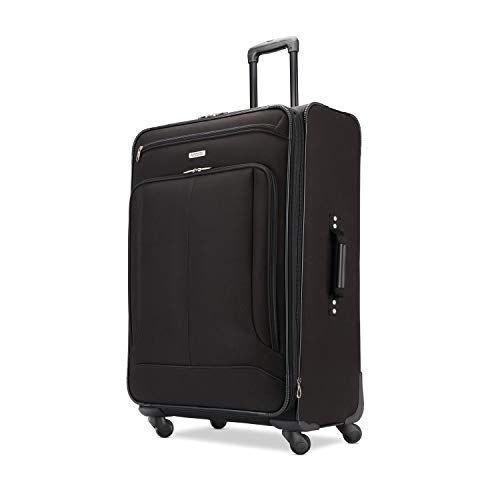 American Tourister Pop Max Softside Luggage with Spinner Wheels, Black, Checked-Large 29-Inch