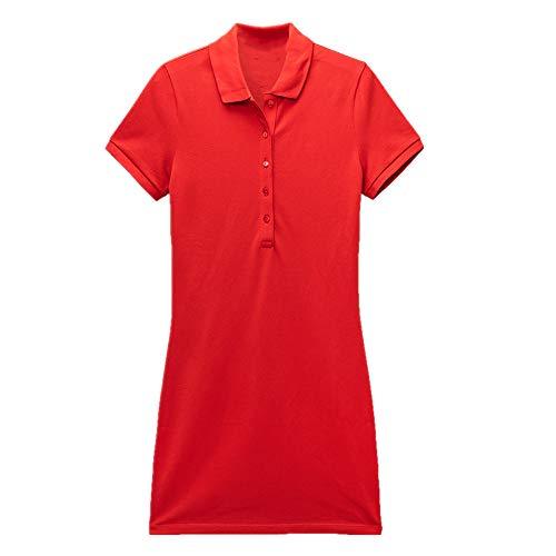 N\P - Abito da donna a maniche corte elegante temperamento sottile per primavera e estate Rosso S