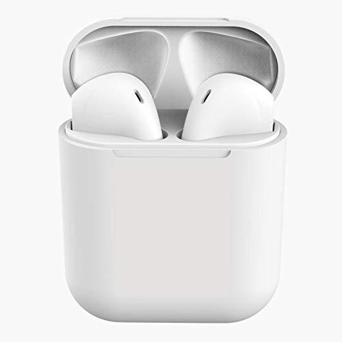 WANDE Bluetooth 5.0 Funkkopfhörer IPX4 wasserdichte In-Ear Drahtlose Kopfhörer Hallo-Fi Stereo Sport Kopfhörer Geeignet für Arbeit/Reisen/Fitness/Fahren,Weiß