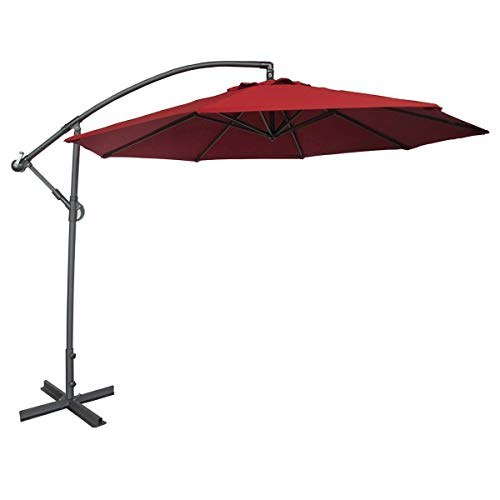 Abba Patio 10-Feet Offset Cantilever Umbrella Outdoor Hanging Patio Umbrella, Red