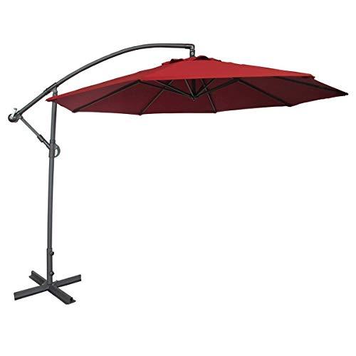 Abba Patio 10-Feet Offset Cantilever Umbrella Outdoor Hanging Patio Umbrella, Red