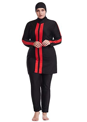 GladThink Dame Muslim Übergröße Badeanzug Islamische Burkini Bescheiden Badebekleidung Schwarz 6XL