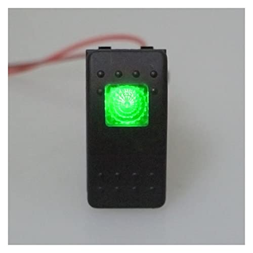 MMYX Interruptor de palanca basculante de 4 pines de encendido y apagado impermeable de 12 V 20 A para coche, barco, vehículos marinos (color verde)