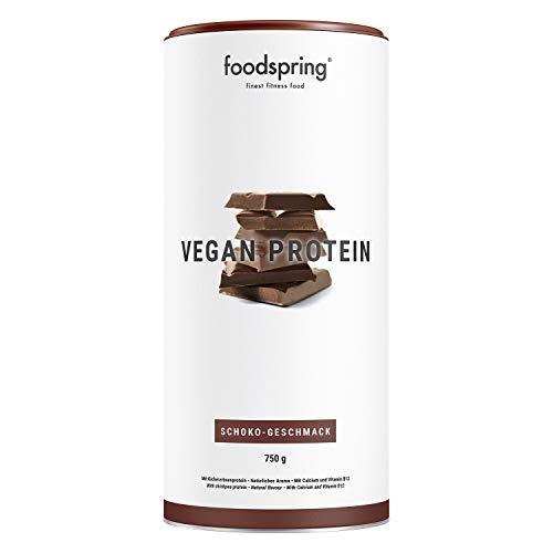 foodspring Vegan Protein Pulver, Schokolade, 750g, Veganes Protein aus Erbsen, Kichererbsen, Hanf & Sonnenblumen, Pflanzenkraft zum Muskelaufbau