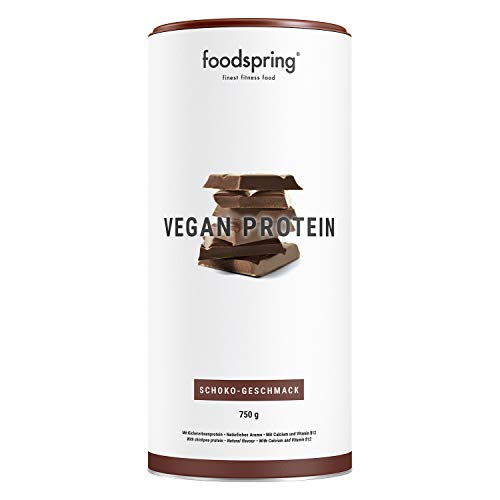 foodspring Vegan Protein, Chocolate, 750g, Gluten and Soy Free Protein from peas, Chickpeas, Hemp & Sunflowers, Plant Power for Strong Muscles