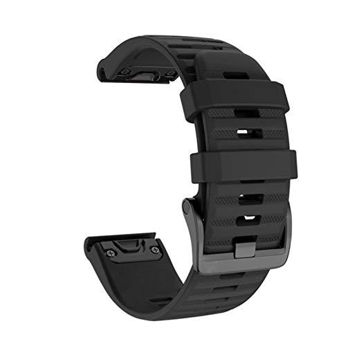 KADIWOAD 2021 26 22mm Quick Release-Armband für Garmin Fenix 6 6X PRO 5 5X Plus 3HR Silikonband Fenix 6 Fenix 5 Uhr für EasyFit-Handgurt (Band Color : Black, Band Width : 26mm Fenix 5X 3 3HR)